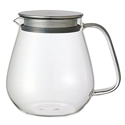 """Kinto Stainless Unitea – """"One Touch""""-Teekanne, 720 ml Hitzebeständige Glas-Teekanne mit Edelstahlsieb und Deckel"""
