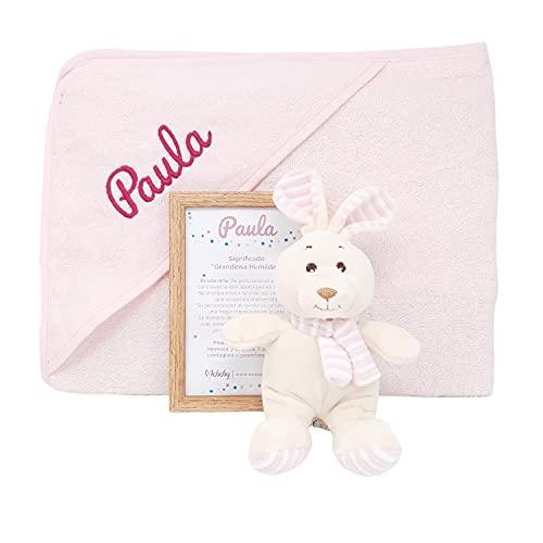 Valencia Mabybox de Mababy – set de regalos para bebé personalizado con peluche extra suave y toalla de bebé personalizada – Regalo original personalizado con el nombre del bebé. (Rosa)