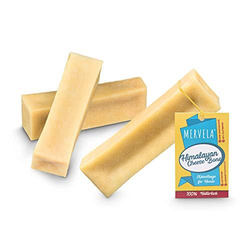 MERVELA Hueso masticable de queso para perros muy grandes [180g por barrita] - con delicioso sabor a queso - 100% natural - cuidado dental óptimo para tu amigo de cuatro patas (3 piezas)