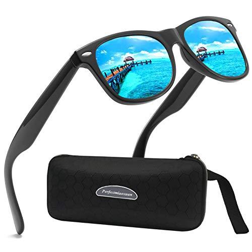 Perfectmiaoxuan Gafas de sol polarizadas Hombre Mujere Retro/Aire libre Deportes Golf Ciclismo Pesca Senderismo 100% protección UVA gafas unisex golf conducción Gafas gafas de sol (D/Blue)