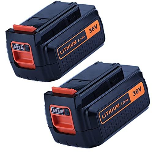 Baterías de reemplazo de 36V 3.0AH para Black & for Decker LBXR36 BL20362 LBX2040 LBXR36 BL2036 Batería de Litio Recargable de Herramienta eléctrica, WQQWQQ-8521 (Color : 2 Piece 3.0Ah)