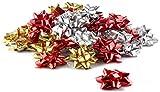 com-four 60x Geschenkschleifen [Farbe variiert] - Selbstklebende Dekoschleifen für Weihnachten und Geburtstage