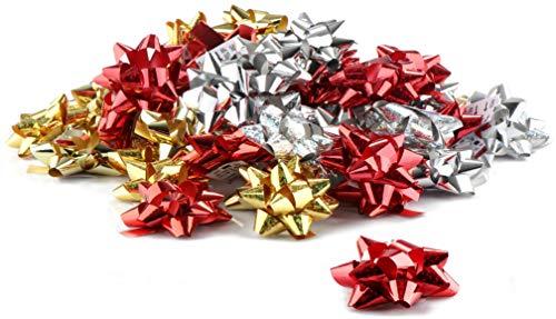 com-four® 60x Geschenkschleifen [Farbe variiert] - Selbstklebende Dekoschleifen für Weihnachten und Geburtstage