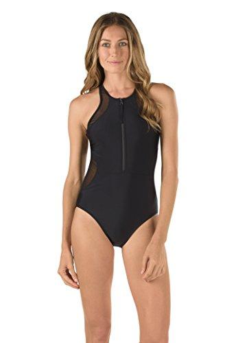 Speedo Damen Powerflex Einteiliger Badeanzug Mesh Zip-Up mit Muskel-Kompression, Damen, Speedo Black, Medium