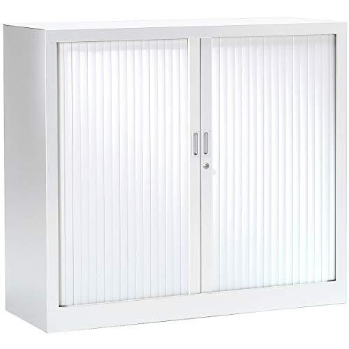 Pierre Henry Armoire à rideaux 100 x 120 x 43 cm - blanc - anti-feu - Armoire de bureau Armoire métallique Rangement de bureau