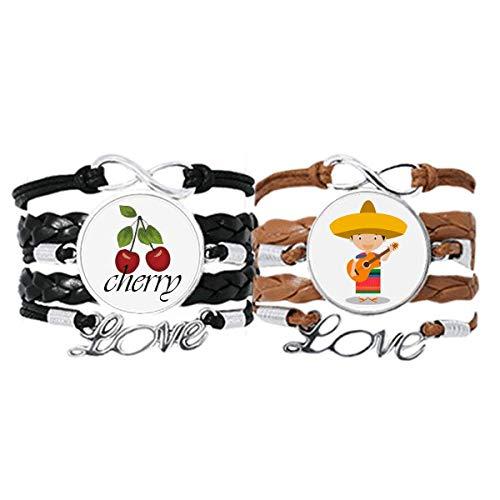 Bestchong Armband mit Hut, Gitarre, Mexiko, Cartoon-Armband, Handschlaufe, Lederseil, Kirschmotiv, Doppel-Set