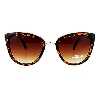 SA106 Runway Fashion Metal Bridge Trim Oversized Cat Eye Sunglasses Tortoise Shell