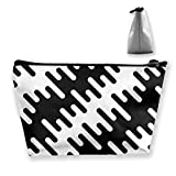 Black and White Diagonal Wavy Irregular Rounded Customized Trapezoidal Storage Bag Ladies Waterproof for Carrying Travel