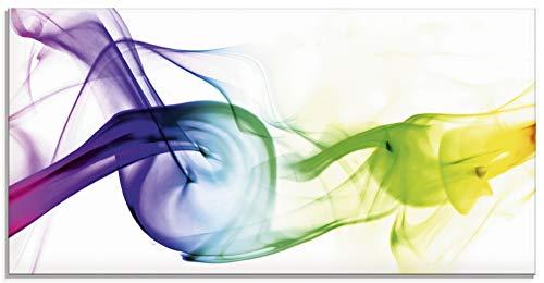 Artland Glasbilder Wandbild Glas Bild einteilig 100x50 cm Querformat Design Abstrakte Kunst Farben Muster Rauch Bunt T5QF