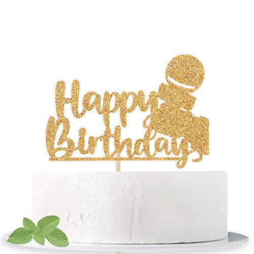 Gold Glitter Happy Birthday Cake Topper with Microphone for Birthday Themed Party Decoration Supplies