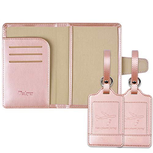 Teskyer Minimalism Protect Privacy Passport Holder ID Case RFID Blocking PU Leather Passport Cover with 2 Luggage Tags 3-rose gold passport holder and rose gold luggage tag 5.6*3.6*0.5inch