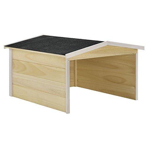 Juskys Mähroboter-Garage aus Holz mit Bitumen-Satteldach | natur | Rasenmähroboter Robotergarage Holzgarage Gartenzubehör