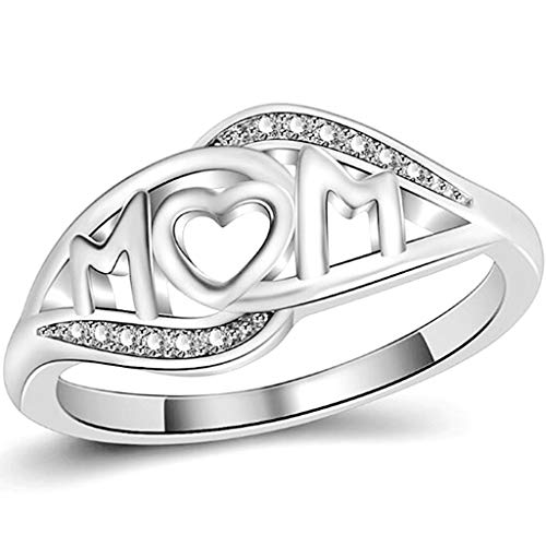 Jude Jewelers Stainless Steel Mom Ring Mother's Day Birthday Wedding Graduation Gift Jewelry (Silver, 4)