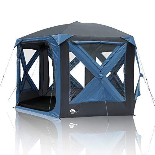 your GEAR Pop Up Pavillon Levanzo Event Dome Shelter 8,5 m² UV 50+ Schutz Zelt für 4-6 Personen Familienzelt Stehhöhe Bodenwanne Wasserdicht 5000 mm Blau Grau