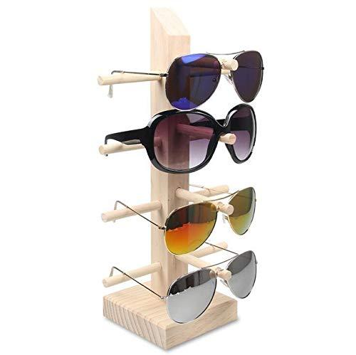 Gafas de sol gafas Pantalla de madera Soportes Estante Gafas Pantalla Mostrar soporte soporte Rack 9 Tamaños Opciones Material natural (Color : 4pairs)