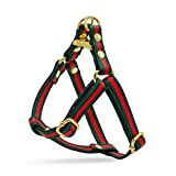 Green and Red Striped Luxury Designer Dog No Pull Harness, Adjustable with Gold Metal Hardware for X-Small, Medium, Large Dogs