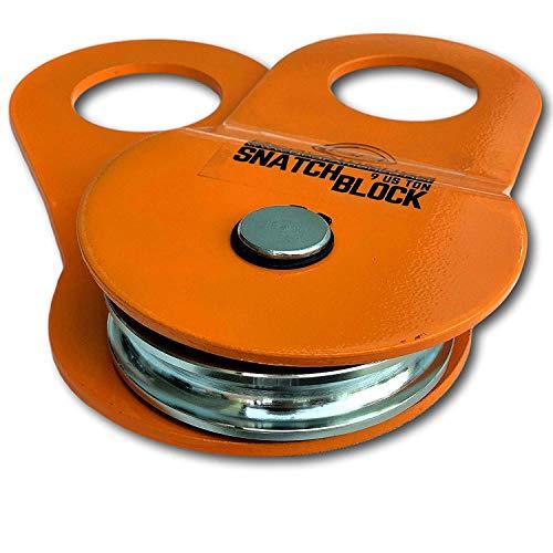 GearAmerica Snatchblock(9 Us Ton)Verdoppeln Sie Ihre Winde Kapazität und Kontrolle Richtung Ziehen Stuck Fahrzeuge Recover mit Leichtigkeit Gebrauch mit Shackles und Baum Saver Straps Orange 9T