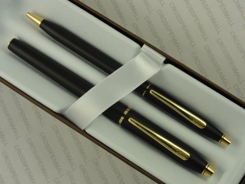 Cross Made in The USA Century Classic Writer's Companion Twin Matte Black and 23k Gel Ink Selectip Rollerball and Ballpoint Pen Gift Combo