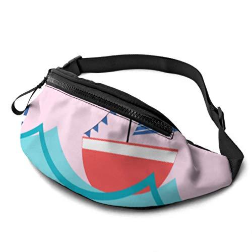 Hüfttasche Leichte Cartoon-Wellen und Schiffe Angeln Gürteltasche mit Kopfhöreranschluss und verstellbaren Trägern Taillentasche Leichtgewicht für Reisesport-Wandern