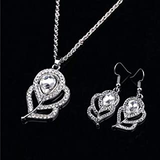 Rhinestone Crystal white Feather Pendant Necklace Earrings Silver Plated Jewelry Set.