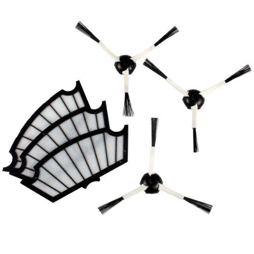 Menalux MRK01 3 Filtres Moteur + 3 Brosses Latérales pour Aspirateur Adaptable pour iRobot Roomba