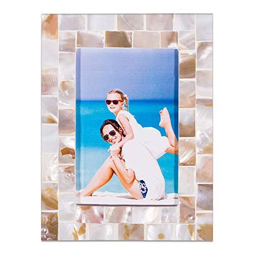 Hohomark Bilderrahmen mit Muscheln, 10,2 x 15,2 cm, als Geschenk für Mütter, Väter, Sie Ihn, Innendekoration, Bilderrahmen für Abschlussfeier, Geburtstagsfeier