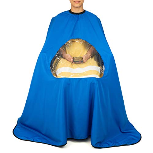 Customoffi Blue Barber Cape With Large Window - Best For Salon, Barbershop, Hair Stylist Cape, Professional Or Personal Use - Easy To Wear and Clean