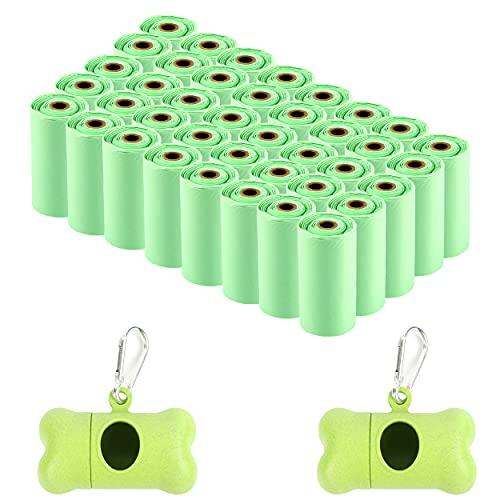 Bolsas Caca Perro Biodegradables con Dispensador, 600 Bolsas para Excrementos Perros Hecho de Almidón de Maíz