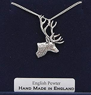 Fine English Pewter Stag's Head Charm with Chain (Gift Boxed)