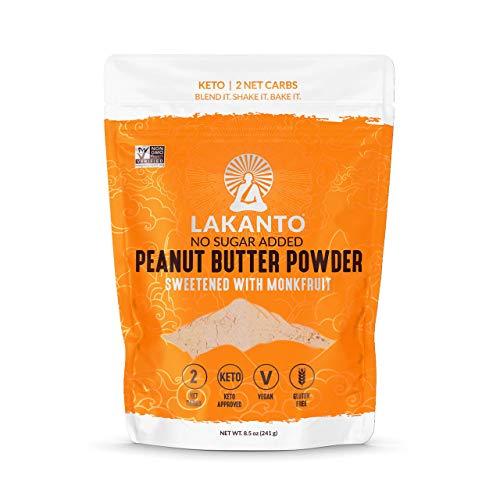 Lakanto Peanut Butter Powder - Sugar Free, 6g Protein, Powdered PB from Roasted Peanuts, 2g Net Carbs, Sweetened with Monkfruit Sweetener, Keto, Vegan, Gluten Free, Smoothies, Sauces, Baking (8.5 Oz)
