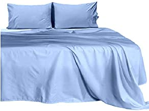 City Linens 750 Thread Count Super Single Waterbed Sheets Unattached (48 x 84) Inch, 100% Natural Cotton, 4-Piece Bed Sheet Set, 10 Inch Deep Pocket, Long Staple Cotton (Solid Light Blue)