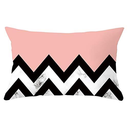 Adokiss Fundas de almohada en poliéster con jaspeado negro, diseño de rayas, suave, cómodo, rectangular, funda para sofá decorativa, blanco, rosa y negro, 30 x 50 cm, estilo 37