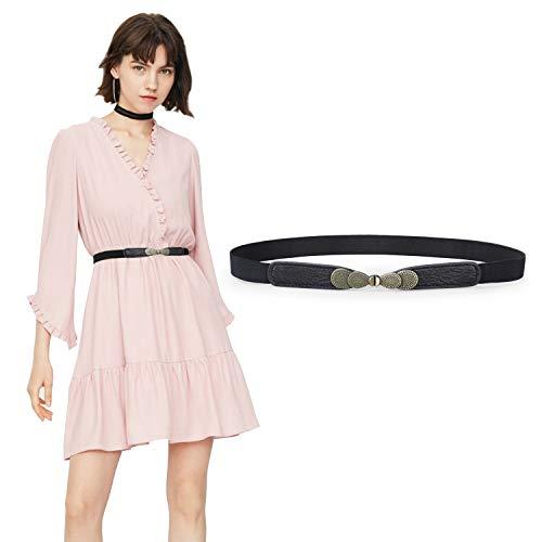 JasGood Gürtel für Kleid Gürtel Damen Stilvoll Gürtel mit Einfacher Stil Einzigartig Design Damengürtel Elegant und Modisch für Kurzer & Langer Rock Kleid 2-Schwarz 70cm(28