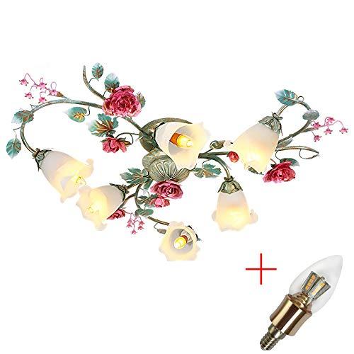 Stilvolle Deckenleuchte Florentiner Blumen Rose Rot 6 Flammig E14 x 60W 230V Wohnzimmer lampe ∅100cm Kreative Zimmerlampe Blume-Shape Deckenlamp Opalglas Lampenschirm