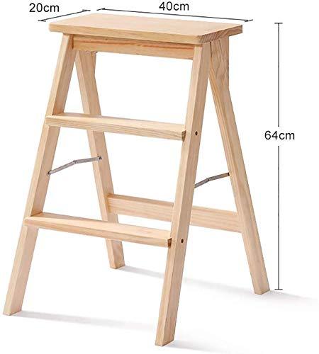 Taburete de escalera de 3 escalones Silla de escalera de madera maciza para el hogar Taburete de escalera plegable portátil moderno y simple, Banco de taburete alto de cocina multifuncional (Color: Amazon.es: