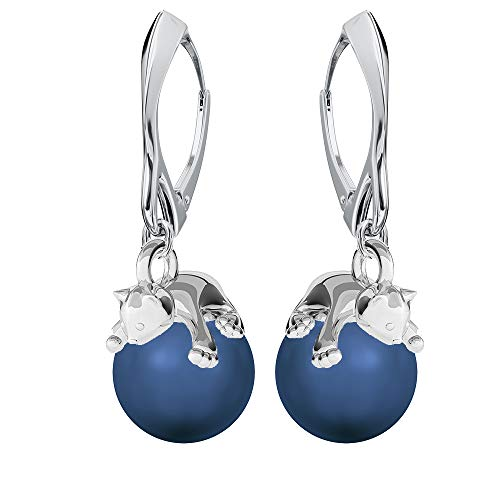 **Beforya Paris** - Kätzchen - Ohrringe - Viele Farben !! - Silber 925 Schön Damen Ohrringe mit Perlen von Swarovski - Wunderbare Ohrringe mit Geschenkbox PIN/75 (Lapis)