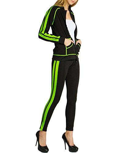 Caspar JG002 stylischer Damen Jogginganzug, Größe:S/M, Farbe:schwarz/neon gelb