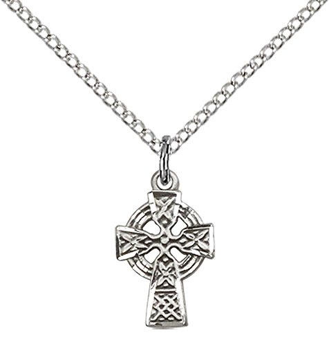 F A Dumont Sterling Silver Celtic Cross Pendant with 18' Sterling Silver Lite Curb Chain.