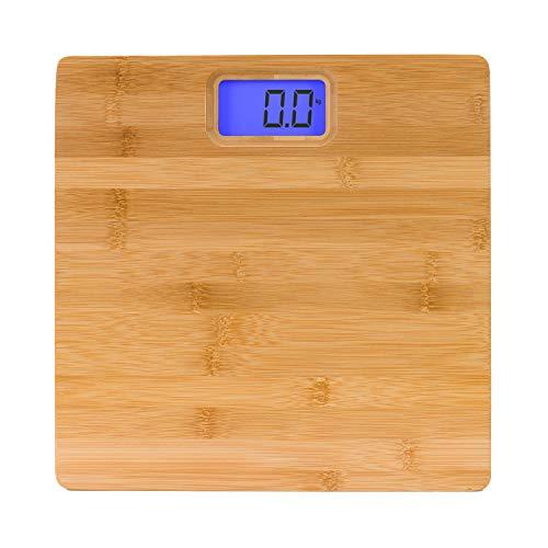 Báscula de Baño Electrónica Ecológica de Bambú | 7hSevenOn Home | Balanza Electrónica con Pantalla LED LCD HD Azul | Báscula Digital | 2 Pilas Incluidas