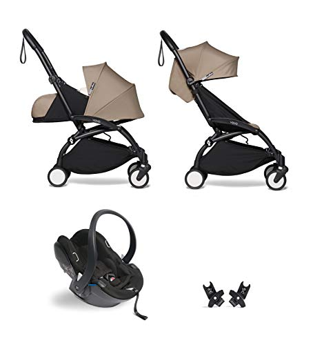 Babyzen YOYO² buggy KOMPLETTES SET 0+ und 6+ taupe Gestell schwarz mit YOYO² BeSafe iZi Go Modular i-Size Autositz schwarz