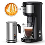 Sboly Single Serve Coffee Maker & Milk Frother, Coffee Brewer for K-Cup and Ground Coffee,...