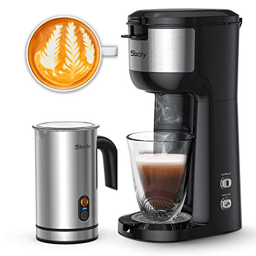 Sboly Single Serve Coffee Maker & Milk Frother, Coffee...