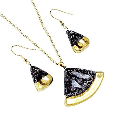 Conjunto de bisutería de diseño • Collar y pendientes marrones • Hecho a mano • Vidrio burbuja checo dorado • Forma de sector circular