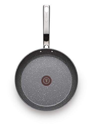 T-fal C412S2 Endura Granite Ceramic Nonstick Thermo-Spot Heat Indicator Dishwasher Oven Safe PFOA Free Fry Pan Set Cookware, 8-Inch and 10.5-Inch, Gray