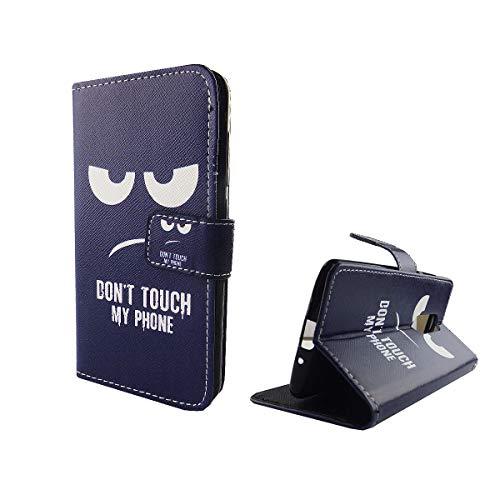 König Design Handyhülle Kompatibel mit ZTE Axon 7 Mini Handytasche Schutzhülle Tasche Flip Hülle mit Kreditkartenfächern - Don't Touch My Phone Weiß Dunkelblau
