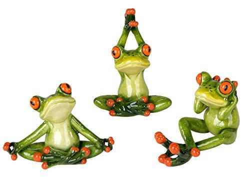 3er Set ~ Yoga Frosch ~ Deko Figur Dekofigur Dekoration Zierfigur Frösche