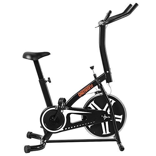 ONETWOFIT Cyclette da Allenamento, Cyclette da Allenamento a Catena da Interno, Cyclette con Altezza Regolabile e Display a LED per Esercizi cardiiaci a casa OT077