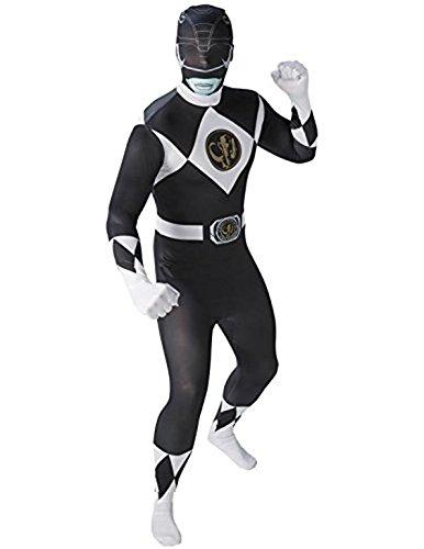 Rubies - Disfraz Oficial de Power Ranger Negro Que se Ajusta como una Segunda Piel, para Adultos, Talla LTraje Ajustado como una Segunda Piel.
