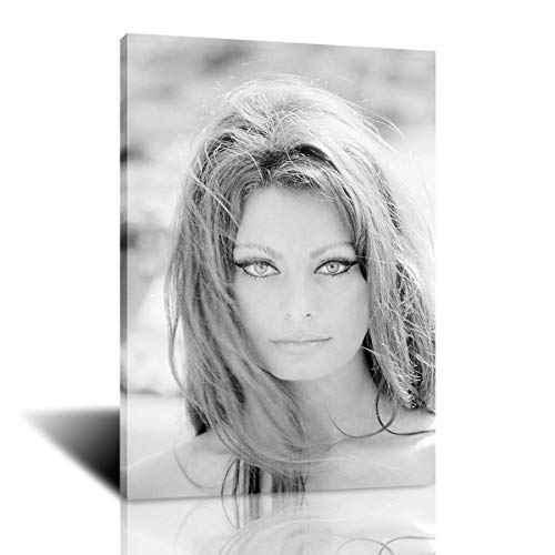 Beautiful Actress Sofia Loren Modern Cool Canvas Art Black and White Poster and Prints Wall Picture for Living Room Decoration (12x18inch,Framed)