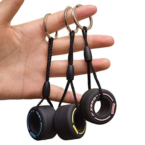 3 mini llavero de goma para neumáticos, accesorios creativos para bolsa de coche, regalos de cumpleaños para familia (amarillo+rosa+azul).